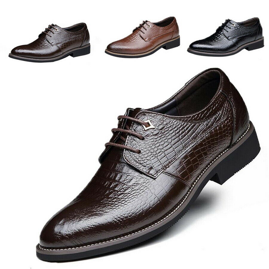 Men Classic Alligator Pattern Business Leather Dress Formal Oxfords Loafer shoes