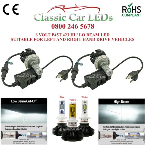 1 Pair 6 VOLT LED Headlights 423 R2 P45T Hi//Lo Beam Bilux Citreon VW Porsche 6v