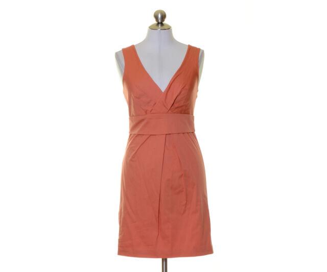 Max and Cleo Orange Lined Surplice Stretch Sheath Dress Size 4