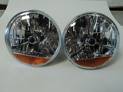 """7"""" Clear Blue Dot Tri Bar Headlights Amber Turn Signal H4 Bulb Chevy Ford Mopar"""