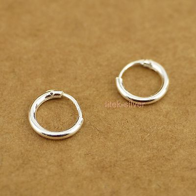 925 Sterling Silver Hoop Huggie 1.1mm Nose Ring Earrings 8.5mm BABY SIZE A1832