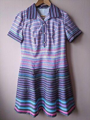 70s A Righe Vintage Abito Camicia 14-16 Mod Viola Rosa Multicolore Con Motivo-