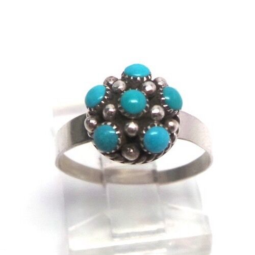 5.5 Zuni Hand Made Indian Flower Ring Sterling Silver Turquoise SZ