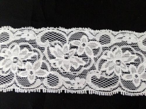 "10 //50 //100  white black Stretch floral scalloped lace trim 2 1//4/"" s5-1"