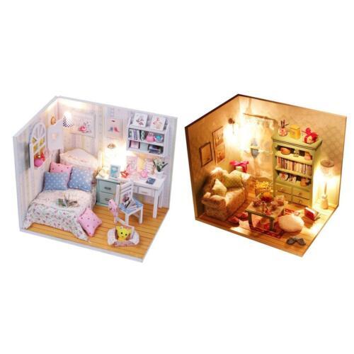 2 SET Maison de Poupée Miniature Dollhouse avec Meubles Jouet DIY Bricolage