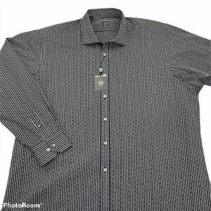 IKE-BEHAR-Mens-Button-Front-Shirt-Black-White-Stripe-Pin-Dot-Long-Sleeve-XXL-New