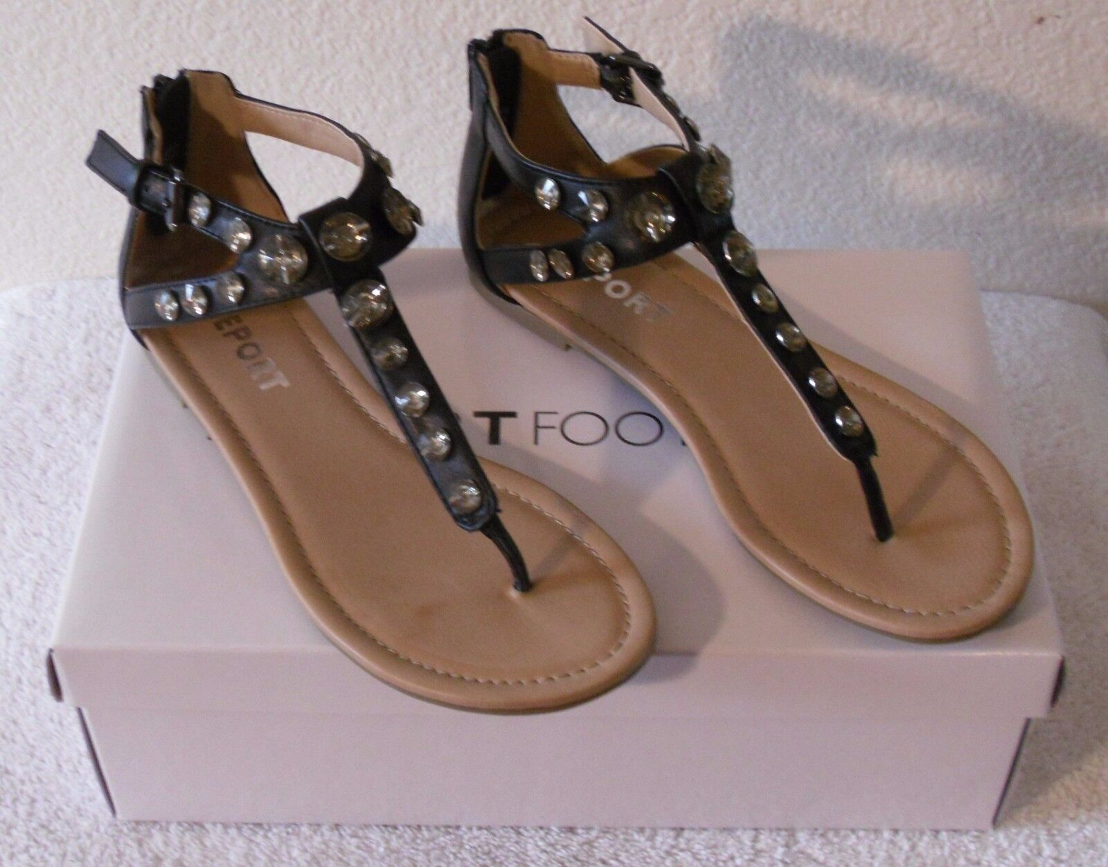 NIB REPORT Gizelle 6.5 Womens T-Strap Sandals 6.5 Gizelle Black MSRP$50 b5df70