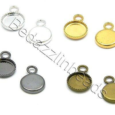 4 Bezel Cup Charm Findings with Loop for 8mm Round Flat Cabochons /& Ice Resin