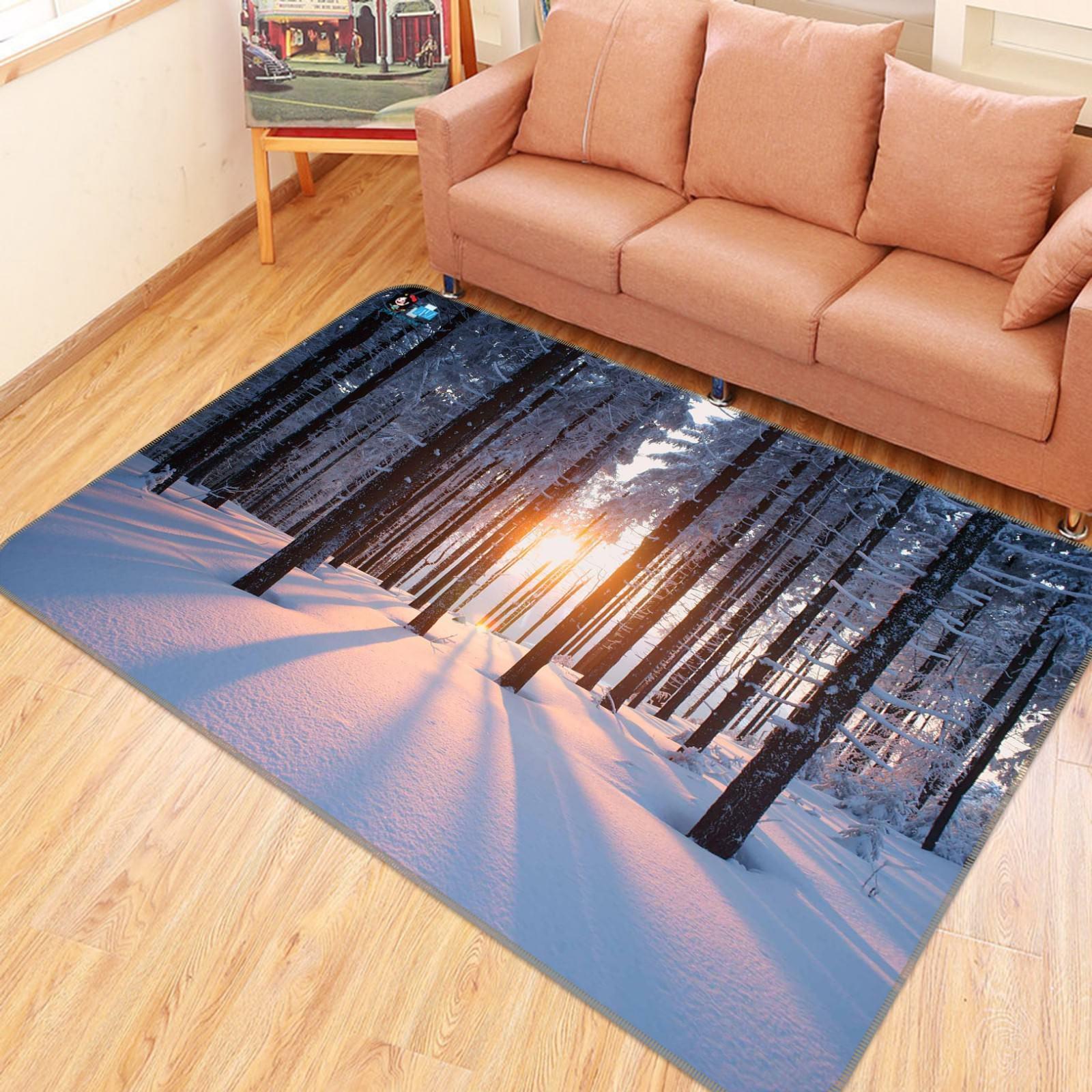 3D Snow Forest 1007 Non Slip Rug Mat Room Mat Quality Elegant Photo Carpet AU