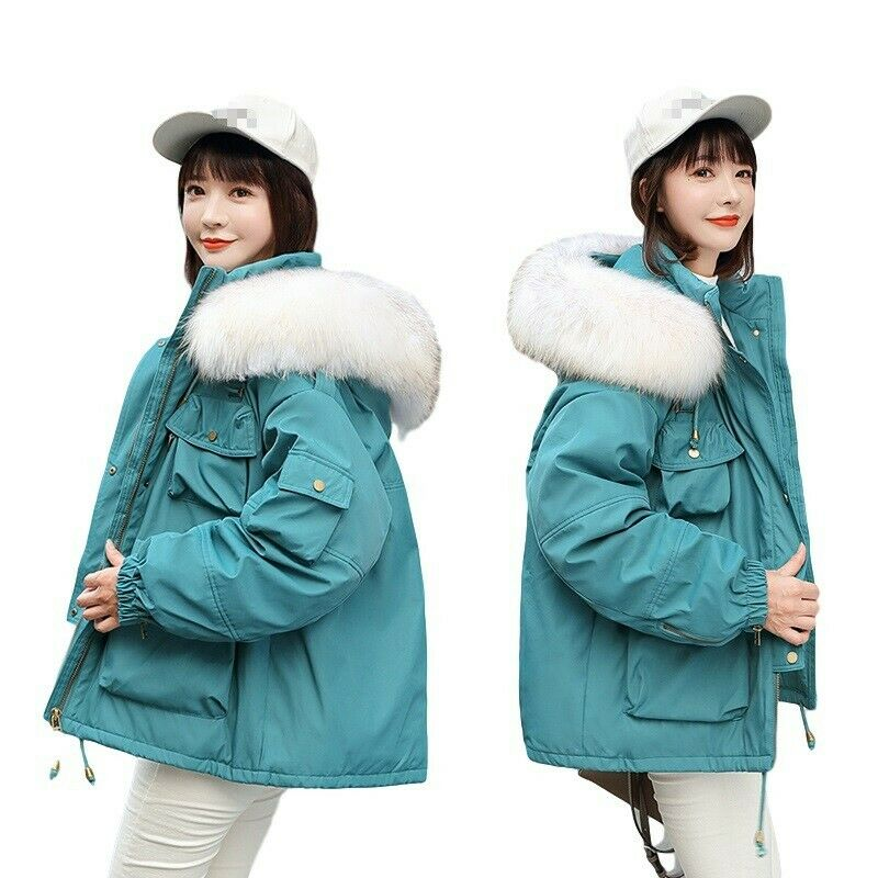 New Winter Women's Hiphop College Faux Fur Collar Cotton Padded Outwear Jacket L