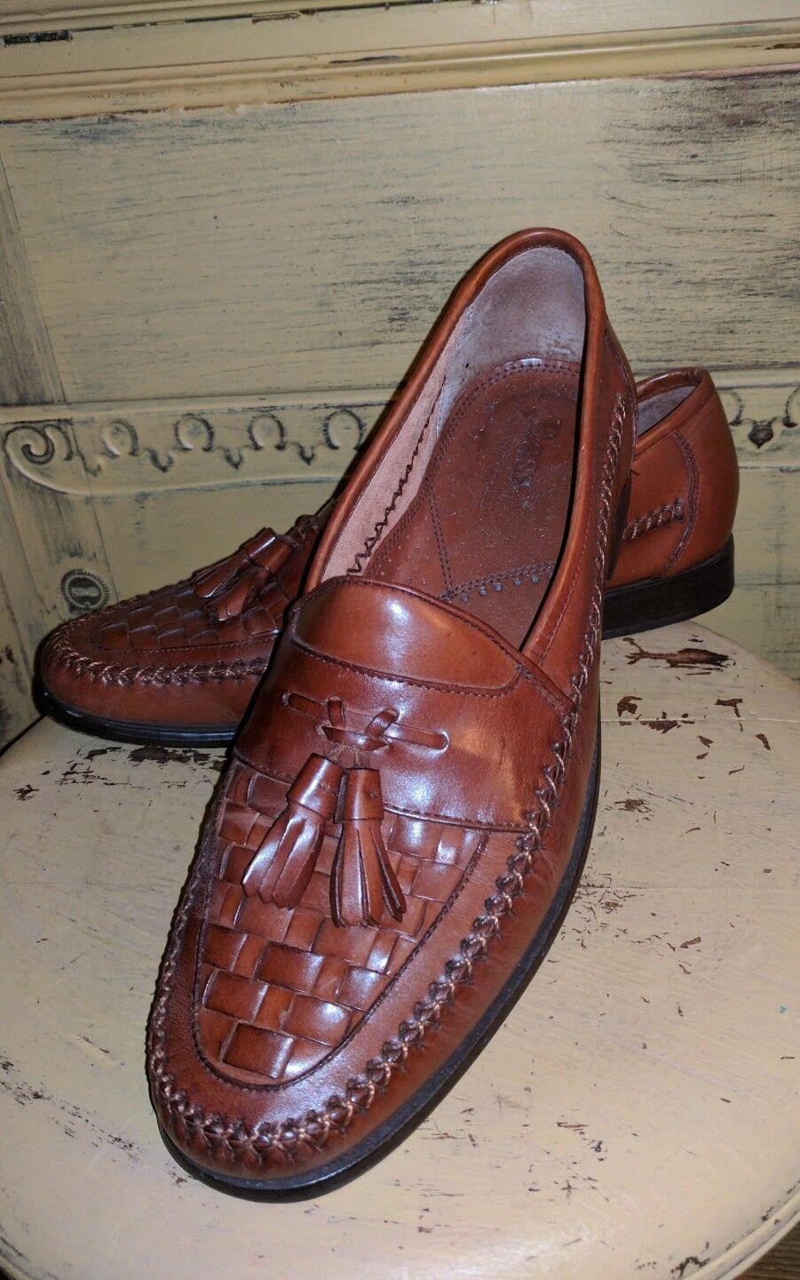 BASS BROWN WOVEN LEATHER TASSEL LOAFERS  SEWN Herren 12 M HAND SEWN  CASUAL Schuhe 993993
