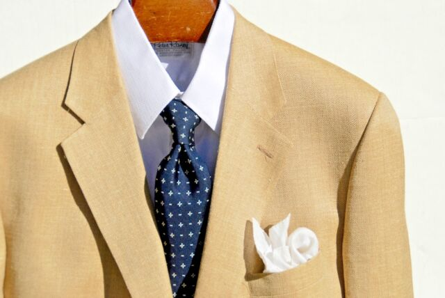 Brooks Bros '346' 46R Gent's Tan Herringbone Silk/Linen/Wool Sport Coat- $448.00
