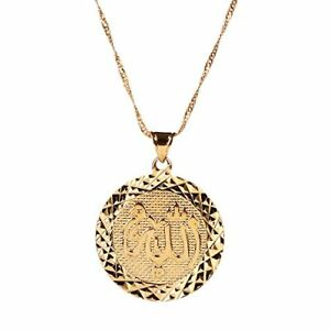 0b54e636f18 Men Allah Gold Pendant Necklace Link Chain Middle East Charm Islam ...