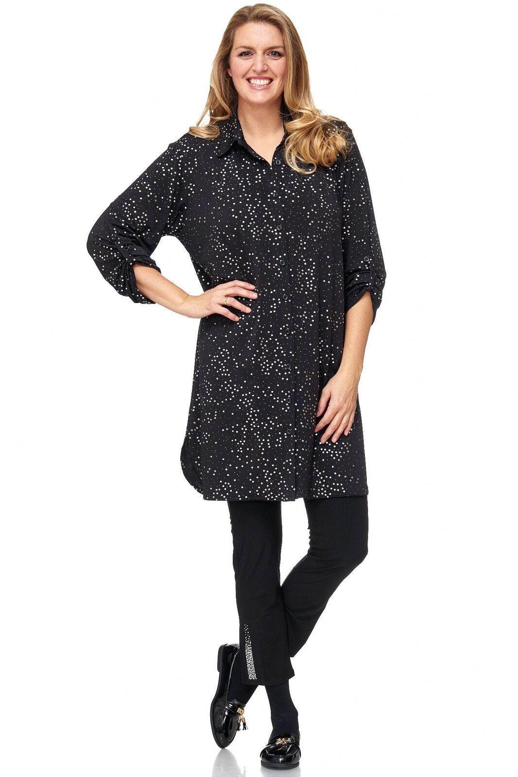 Magna Longbluese Kleid Hemdbluesenkleid - silver Print 42 44 46 48 50 52 54 56 60