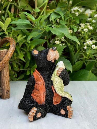 Miniature Dollhouse FAIRY GARDEN Figurine ~ Mini Bear Fisherman Sitting w Fish