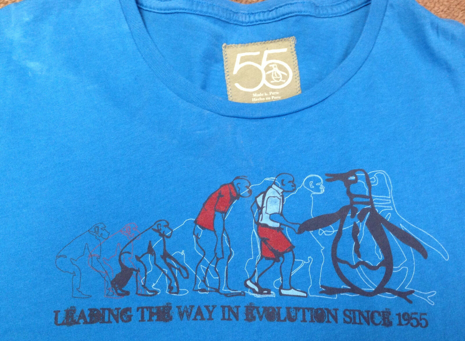 Herren T-Shirt Vintage L 55 Blau Leading The Way in Evolution Since 1955 Pinguin