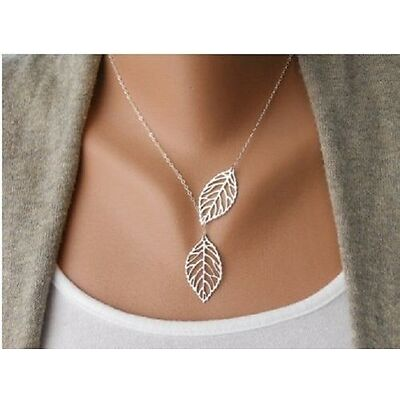 Silver Coloured Two Leaf  Necklace Pendant  Double Leaves in velvet gift bag