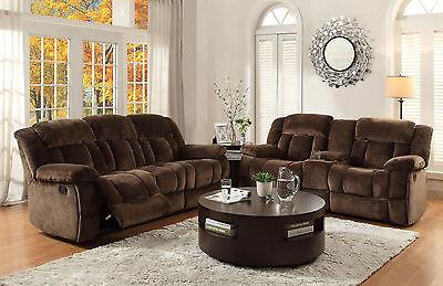 ARLES-Modern Brown Microfiber Recliner Sofa Couch Set Living Room Furniture NEW