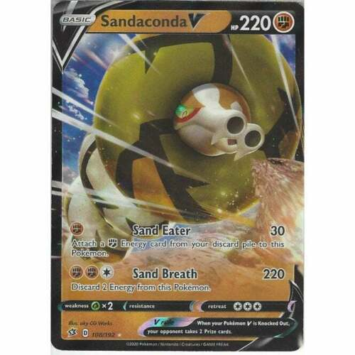 Pokemon SWSH Rebel Clash 108//192 Sandaconda V Half Art
