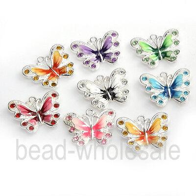 5/10pcs Zinc Alloy Enamel Butterfly Charm Pendant Fit  Crafts 7 Colors To Choose