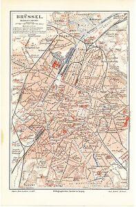 Carte City Map 1907: Plan De Ville Bruxelles, échelle: 1: 40.000-afficher Le Titre D'origine Style à La Mode;
