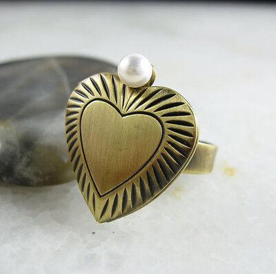 Lovely Tiny Imitation Pearl Brass Ring Heart Locket Adjustable Ring