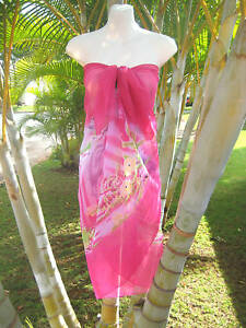 21d43afb21668 Image is loading Sheer-Sarong-PINK-DOLPHINS-TROPICAL-FISH-Hawaii-Beach-