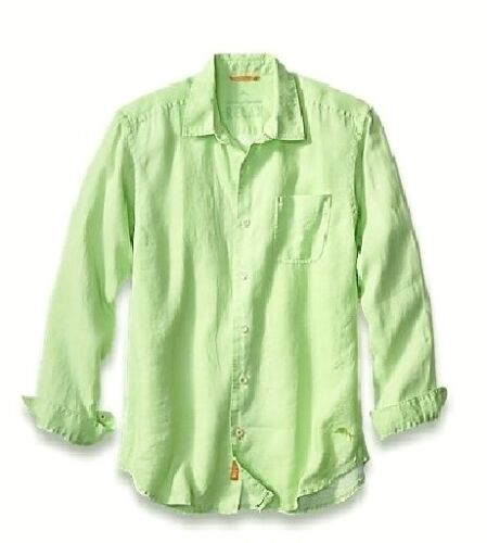 Tommy Bahama Lime Pop Sea Glass Breezer Long Sleeve Linen Button Up Shirt NWT