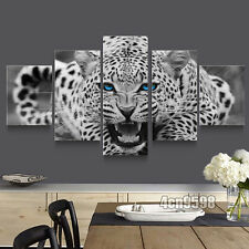 HD Canvas Print home decor wall art painting White Leopard 5pc(no frame)#001