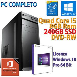 Computer assemblato nuovo PC fisso Desktop Quad Core I5 RAM 8gb SSD 240gb HDMI