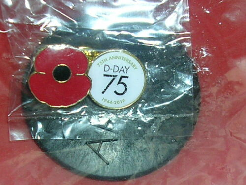 D-Day 75th Anniversary Poppy Pin Badge In Sealed Bag