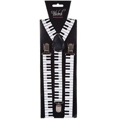 ANNI 80 80 pianoforte costume bretelle REGOLABILE BIANCO//NERO MUSICA NUOVO W