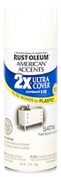 Rust Oleum Clear Coat Spray Paint Satin Ultra Cover 2x Heirloom White Fast Dry
