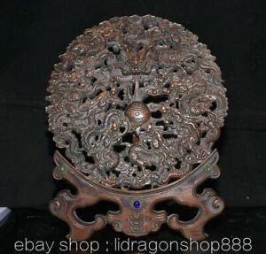 """14.4"""" Ancien Chine Buis Sculpté Main Feng Shui Neuf Fleur Dragon Pliant Écran"""