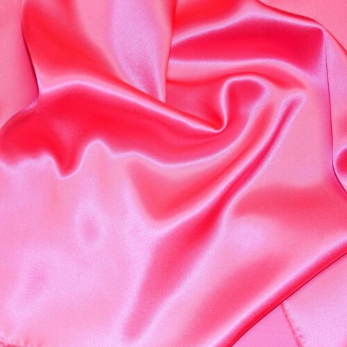 """100/% PURE SILK CHARMEUSE FABRIC 45/"""" DRESSMAKING SEWING HOT PINK SOLID COLOR BTY"""