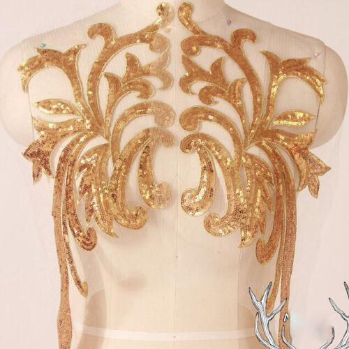 1 Pair Applique Beaded Trim Embroidery Sewing Motif DIY Wedding Bridal Crafts