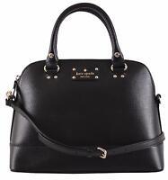 Kate Spade Black Leather Small Rachelle Convertible Dome Satchel Purse
