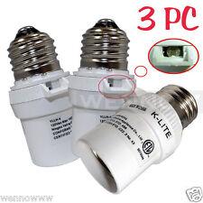 3 Pcs White Dusk To Dawn Photocell Light Control Auto Sensor Light Socket