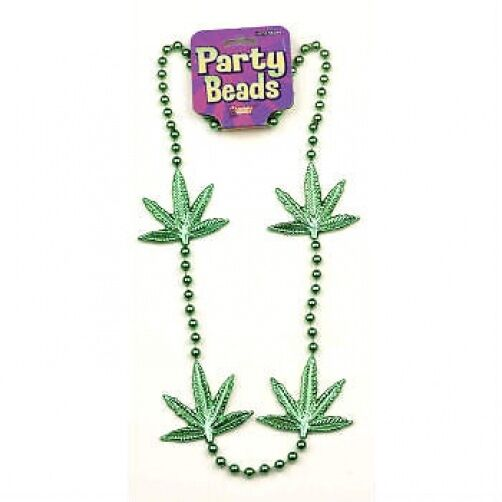 "48"" GREEN POT LEAF BEAD NECKLACE Funny Marijuana Reefer Hippie Mardi Gras Party"