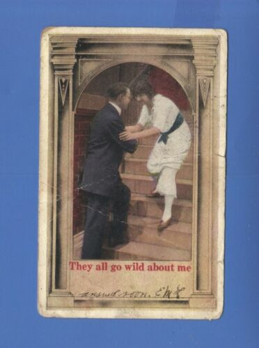 THEY ALL GO WILD ABOUT ME LOVE POSTCARD 1921
