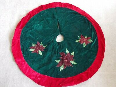 Poinsettia Tree Skirt Red Velvet /& Satin~Trim a Home~NWT/'s Retails $24.99