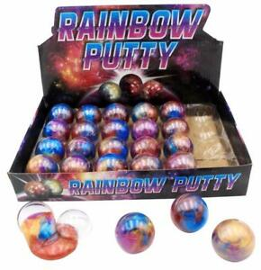 Bulk-Lot-x-24-Rainbow-Putty-in-Round-Capsule-Kids-Party-Favors-Novelty-Toys-NEW