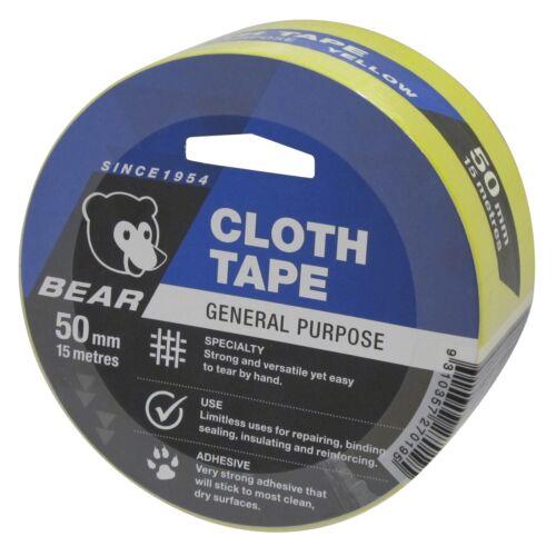 Norton Bear GENERAL PURPOSE CLOTH TAPE YELLOW *Australian Brand-50mmx 15 Or 25m