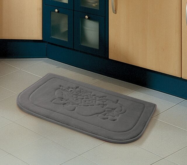 Victoria Clics Fruit Kitchen Memory Foam Rug 18in X 27in Gray
