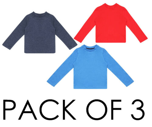 BABY BOYS 3 PACK TOPS LONG SLEEVE T SHIRTS EX UK STORE BRIGHT MULTIPACK 0-24M