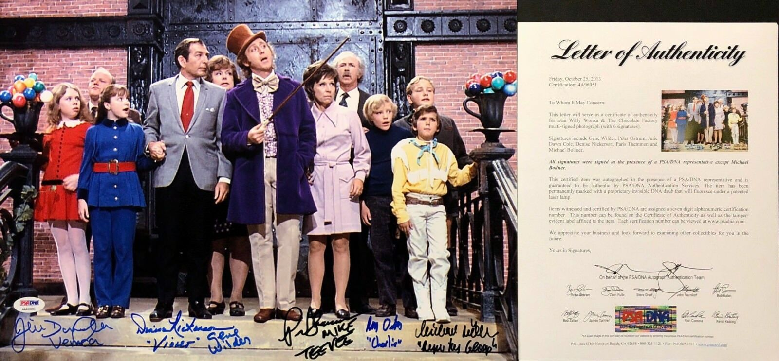 Gene Wilder Dawn Cole Michael Bollner Signed Willie Wonka 12x17 Photo PSA