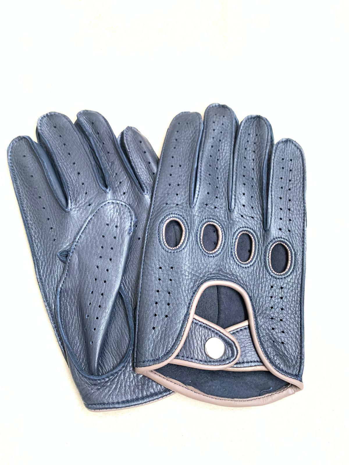 Men's Driving Deerskin Blue & Grey Contoured Gloves