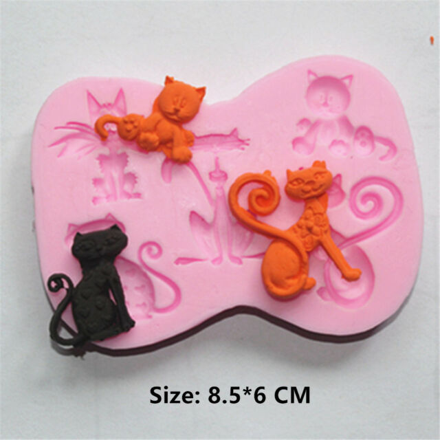 Lovely Cats Silicone Cake Mould Fondant Sugar Craft Chocolate Decorating Tools