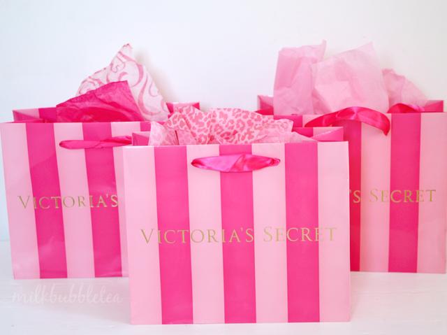 Victoria/'s Secret SMALL PAPER STRIPE BAG GIFT SHOPPING BAG SET OF 10  VS 1224H