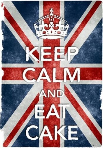 KC20 Vintage Style Union Jack Keep Calm Eat Cake Funny Poster Print A2//A3//A4